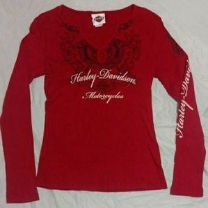 Red Harley Davidson Long Sleeve Top Shirt Size M